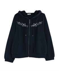 Embroidered hoodie(Navy-Free)