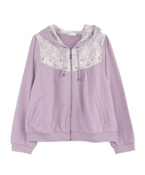 Embroidered hoodie(Lavender-Free)