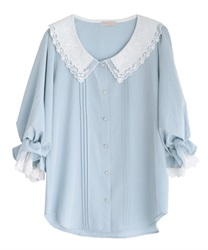 Lacy collar puff sleeve blouse(Saxe blue-Free)