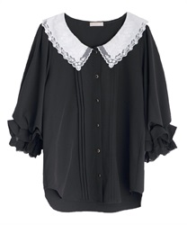 Lacy collar puff sleeve blouse(Black-Free)