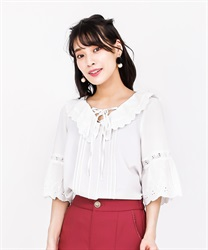 Lace-up blouse(White-Free)
