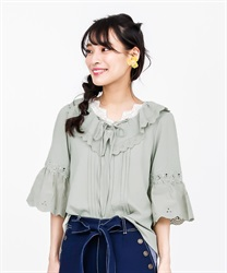 Lace-up blouse(Green-Free)