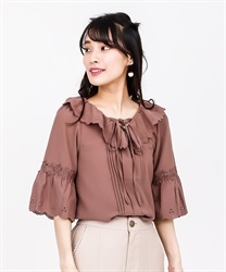 Lace-up blouse(Brown-Free)