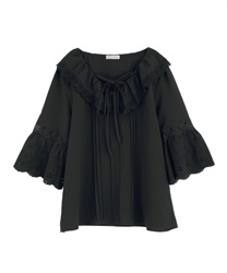 Lace-up blouse(Black-Free)