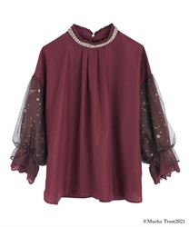 Mucha tulle sleeve blouse(Purple-Free)