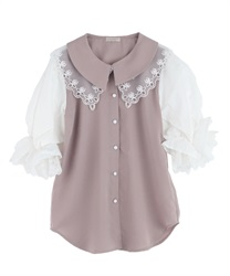 Lace collar puff sleeve blouse(Pale pink-Free)