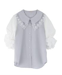 Lace collar puff sleeve blouse(Saxe blue-Free)