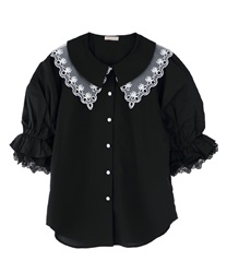 Lace collar puff sleeve blouse(Black-Free)
