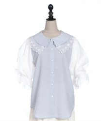 Lace collar puff sleeve blouse