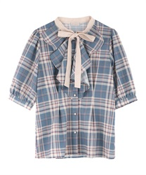 Ruffle Check Blouse(Saxe blue-Free)