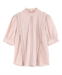 Pin Tuck Cotton Blouse(Pale pink-Free)