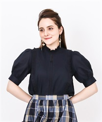 Pin Tuck Cotton Blouse(Navy-Free)