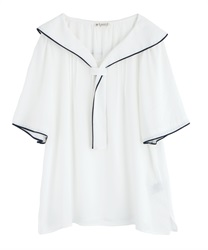 Piping Short Sleeve Blouse(White-Free)