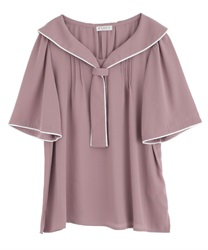 Piping Short Sleeve Blouse(Pale pink-Free)