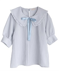 Checkered frills blouse(Saxe blue-Free)