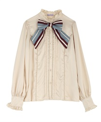Stripe ribbon tie blouse(Ecru-Free)