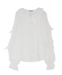 Dotted tulle blouse(White-Free)