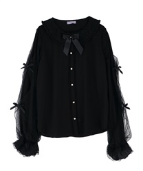 Dotted tulle blouse(Black-Free)