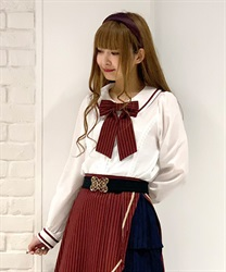 Stripe ribbon blouse(White-Free)