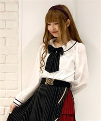 Stripe ribbon blouse(Black-Free)