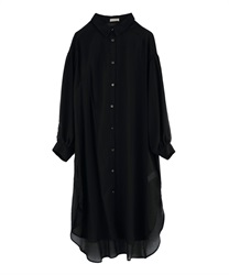 Sheer long shirt(Black-Free)
