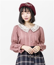 Lace collar velor stripe blouse(DarkPink-Free)