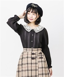 Lace collar velor stripe blouse(Black-Free)