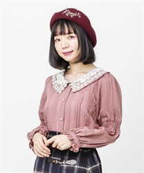 Lace collar velor stripe blouse