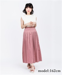 Pleated long pants with sash(DarkPink-Free)