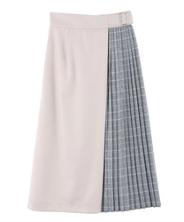 Color scheme pleats skirt(Beige-Free)