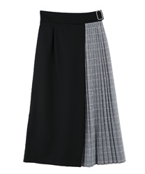 Color scheme pleats skirt(Black-Free)