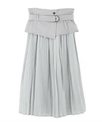 "Pleated Skirt with ""Removable Corset Design Belt""(Grey-Free)"