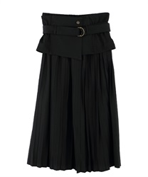 "Pleated Skirt with ""Removable Corset Design Belt""(Black-Free)"