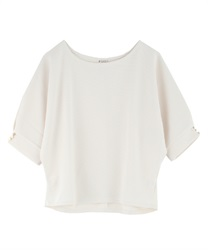 Dolman sleeve pullover with button(Ecru-Free)