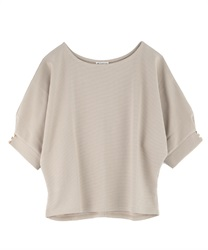 Dolman sleeve pullover with button(Beige-Free)