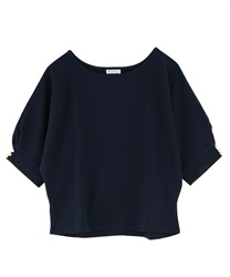 Dolman sleeve pullover with button(Navy-Free)