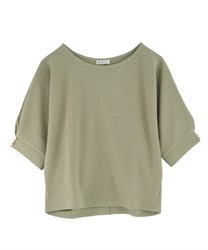 Dolman sleeve pullover with button
