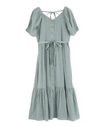 Walnuts Button Long Dress(Green-Free)