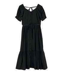 Walnuts Button Long Dress(Black-Free)