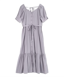 Walnuts Button Long Dress(Lavender-Free)