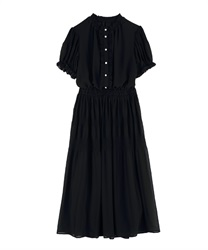 Majolica Pleated Long Dress(Black-Free)