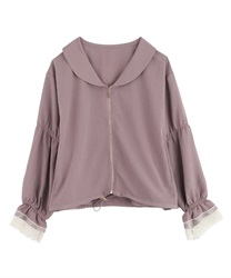 "Embroidered ""crepe de chine"" blouson(Pale pink-Free)"