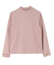 Lace high-necked pullover(Pale pink-Free)