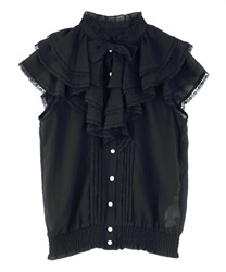 Volume Ruffle Sleeveless Blouse(Black-Free)