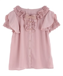 Frilly blouse(Pale pink-Free)