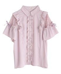 Lacy raffle frills blouse(Pale pink-Free)