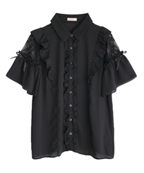 Lacy raffle frills blouse(Black-Free)
