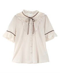 Sheer Lace Tulle Short Sleeve Blouse(Ecru-Free)