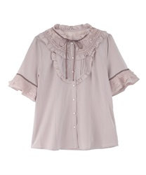 Sheer Lace Tulle Short Sleeve Blouse(Pale pink-Free)