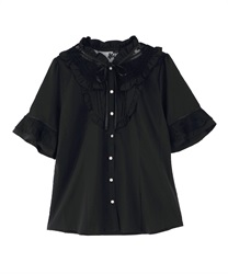 Sheer Lace Tulle Short Sleeve Blouse(Black-Free)